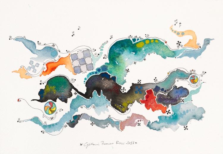giovanni romano ricci watercolour painting galaxy space