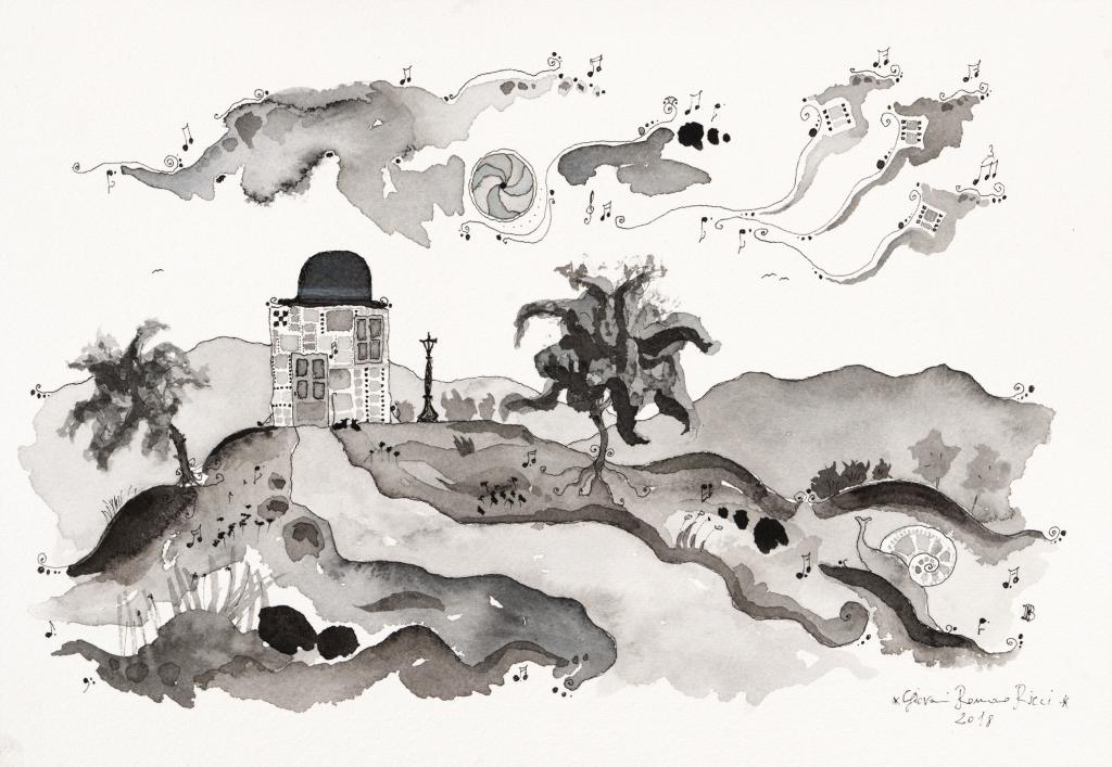 giovanni romano ricci painting watercolour charlie chaplin house