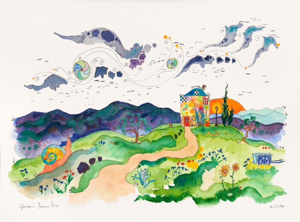 giovanni romano ricci painting watercolour van gogh house