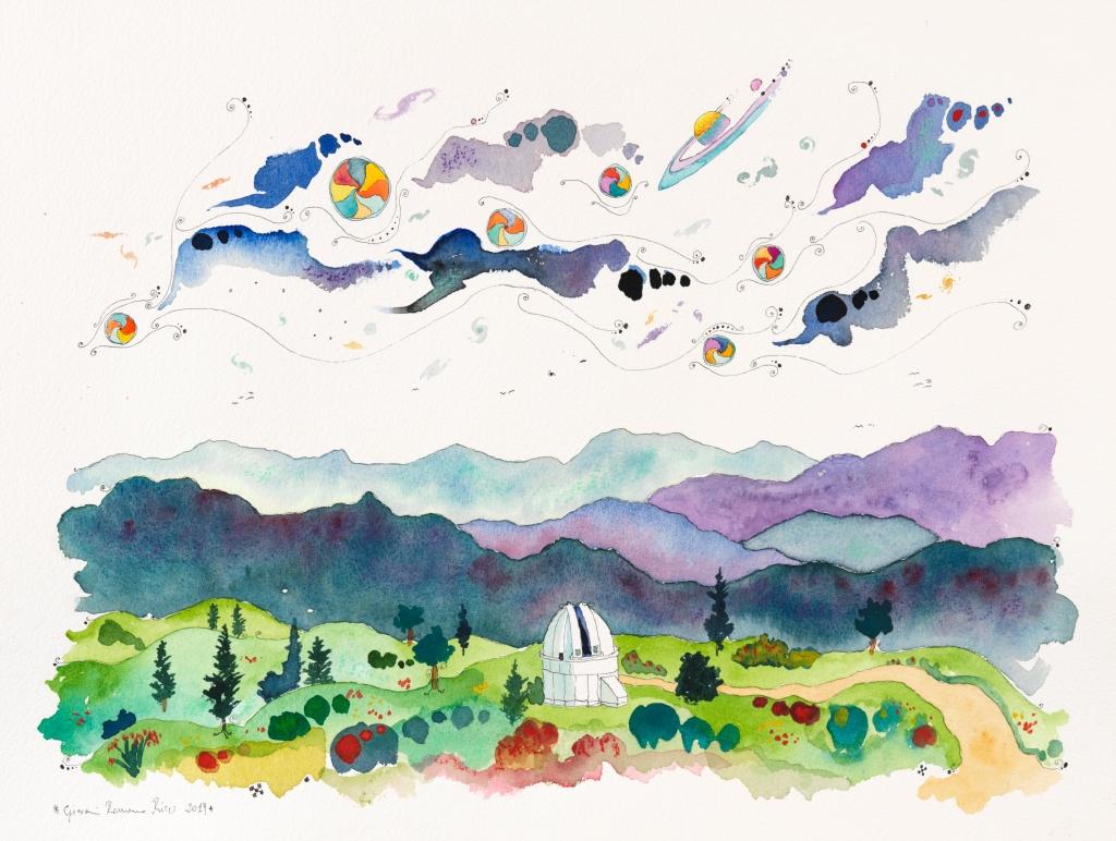 giovanni romano ricci painting watercolour Mount Wilson Observatory