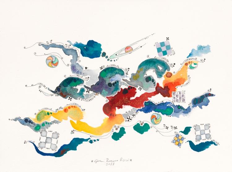 giovanni romano ricci watercolour painting space satellite